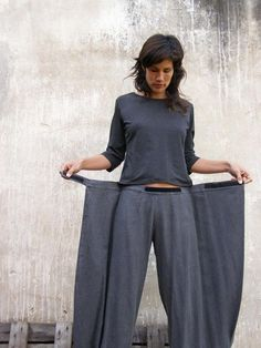 Unique grey linen Womens pants-Origami trousers/ 4 way pants-womens wrap pants-Wide pants-Convertible pants