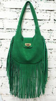 CHETUMAL Fringe Purse Kelly Green Suede Leather Bag by BixiAwotan $105