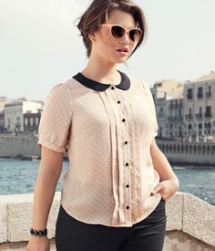 H+ Blouse - Polka dot chiffon blouse with fabric-covered buttons, front box pleats and a contrasting collar.