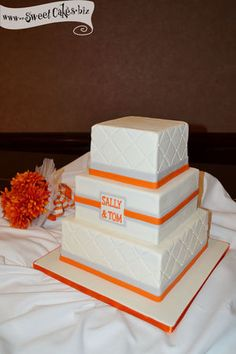 Orange Monogram Wedding Cake - I personally like this. And the orange helps. It has a little color but is still simple. I tend to like square too. Wedding Cake Stands, Wedding Cakes, Beautiful Cakes, Amazing Cakes, Orange Wedding, Gold Wedding, Wedding Cake Designs, Wedding Ideas, Cupcake Cakes