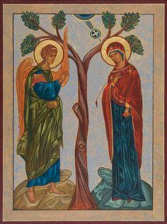 Annunciation Icon Acrylic icon with gold leaf