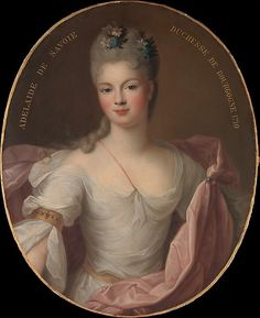 Marie Adélaïde de Savoie (1685–1712), Duchesse de Bourgogne by Pierre Gobert c. 1710. The eldest daughter of Duke Victor Amadeus II of Savoy and of Anne Marie d'Orléans. Her betrothal to the Duke of Burgundy in June 1696 was part of the Treaty of Turin, signed on 29 August 1696. She was the mother of the future King Louis XV of France. She became Dauphine of France upon the death of her father-in-law, Le Grand Dauphin, in 1711 . She died of measles in 1712, followed by her husband a week…