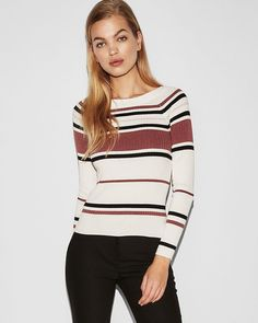 3c66f68f840e62 Striped Ribbed Bateau Neck Sweater   Express #sweater #womensfashion afflink