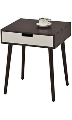 Aeropostale SR-1480 Espresso/Side End Table Nighstand with Drawer, White Best Price