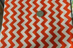 Marshall Dry Goods Fabric - One Yard - Orange and White Chevron - pinned by pin4etsy.com