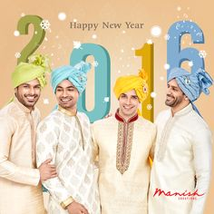 Let your bright smiles light up the new year as you welcome 2016 in perfect ethnic style. Here's wishing you all a very Happy New Year!  ‪#ManishCreation #NewYear #2016 #IndianWear #EthnicFashion #Celebration #Style #Traditional ‬