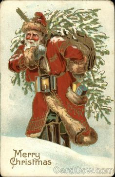 Santa carrying tree on his back and holding a lantern Series B