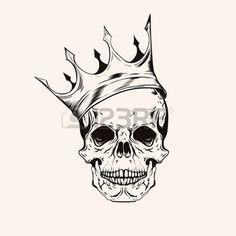 western background: Hand drawn scull croquis avec l'art de la ligne couronne de tatouage. Vintage vector illustration isolé sur fond.