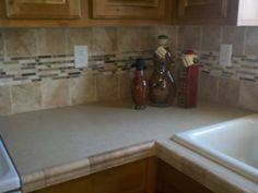Similar To What Weu0027re Doing Behind The Oven If I Can Find A Tile Chair Rail  Like This To Match The Field Tile We Picked Out. | Kitchen Ideas |  Pinterest ...
