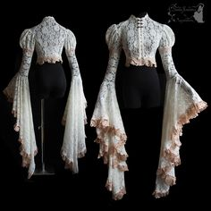 Because sleeves can't be too big :) Inspired by Art Nouveau fashion, adjusted to own design. Made of ivory lace, decoated with laces, trims and clasps, on the sleeve hems lots of pale beige nude vintage lace ^^