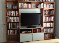 IKEA Hackers: Billy library to entertainment center. Add a backing behind the TV and make the bookcases black and it's perfect
