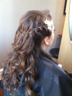 Waterfall braid and curls