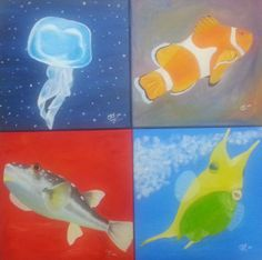 Under The Sea Paintings - How I Made Them http://practicalcookie.blogspot.com/2014/02/the-making-and-inspiration-of-my-under.html
