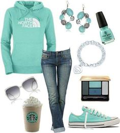 I love this color! I want a north face sweatshirt or a sweatshirt this color... I love how they made a sweatshirt look cute