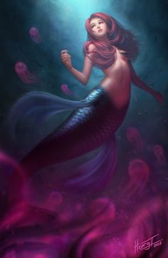 I love all fantasy and mythical stuff, but my favorite ones are mermaids.So this is a collection of mermaid images I've been picking all over the internet. Let it be clear that I haven't drawn any of them! Whenever possible I indicate source and author. Fantasy Mermaids, Mermaids And Mermen, Fantasy Girl, Fantasy Creatures, Mythical Creatures, Sea Creatures, Anime Mermaid, Siren Mermaid, Mermaid Artwork