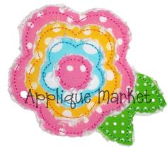 Machine Embroidery Design Applique Frayed Raggy Flower 6 Sizes. $3.00, via Etsy.