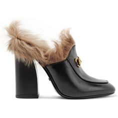 Gucci Shearling-lined leather mules (1,235 SGD) ❤ liked on Polyvore featuring shoes, heels, gucci, footwear, slip on shoes, leather slip-on shoes, black leather loafers, high heel shoes and high heel loafers