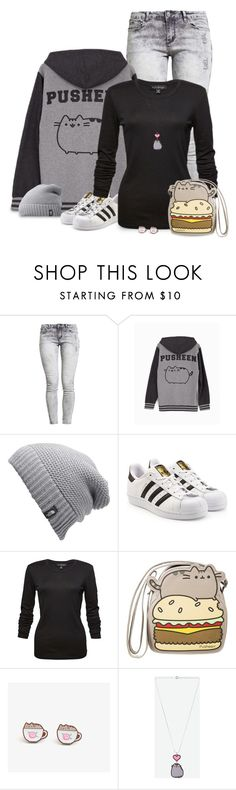 """Back to school with Pusheen"" by kamkami ❤ liked on Polyvore featuring Pusheen, The North Face and adidas Originals"