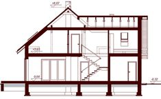 Przekrój DN GALILEA CE House Plans, Floor Plans, How To Plan, Bed, Modern, Furniture, Home Decor, Collections, Country Houses