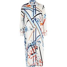 Blue print longline shirt £50 #riverisland