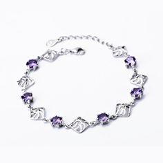 GNS0088 Wholesale YFN 925 Sterling Silver Bracelet Handmade Jewelry Purple Cubic Zirconia Bracelet Fashion Jewelry For Women #Affiliate