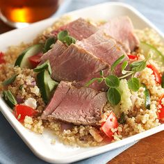 This super healthy salad includes the protein packed grain quinoa along with healthy, fresh vegetables, seared tuna and a light homemade dressing to top it all. Make this for a light, easy dinner or take to work for a filling lunch.