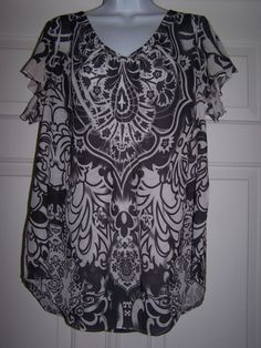 Cato Women's XL Blouse Floral Multi-Color Short Sleeve Semi Sheer NWOT #Cato #Blouse #Career