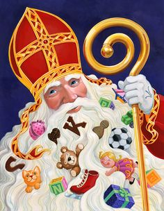 Sinterklaas 'raamposter' Bijenkorf St Nicholas Day, Saints, December, Folders, Santa Clause, Vintage, Google Search, Nostalgia, Everything
