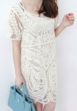 White Short Sleeve Embroidery Sheer Lace Dress - $29.90 http://www.sheinside.com/Beige-Short-Sleeve-Embroidery-Sheer-Lace-Dress-p-113208-cat-1727.html?source=Pinterest=HardPin=type359