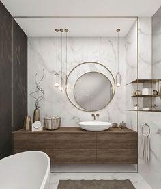 Perfect wooden bathroom mirror ideas only in dandj home design Contemporary Bathrooms, Modern Bathroom Design, Bathroom Interior Design, Decor Interior Design, Bathroom Designs, Minimal Bathroom, Modern Contemporary, Modern Design, Black Marble Bathroom