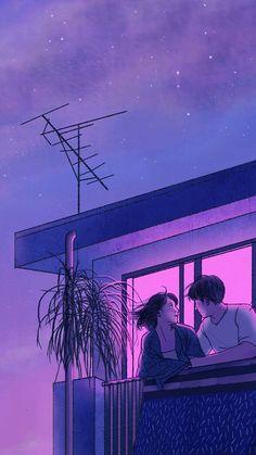 Super Ideas For Illustration Art Love Couple Kawaii Art And Illustration, Purple Aesthetic, Aesthetic Art, Aesthetic Anime, Aesthetic Drawings, Aesthetic Pictures, Aesthetic Clothes, Aesthetic Japan, Aesthetic Vintage
