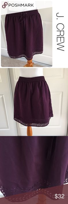 "J. Crew laser cut plum skirt with drawstring size8 ♦️Like new. No stains, holes, or piling. ♦️Materials- 100 polyester ♦️ Fully lined with drawstring waist so could fit smaller size. ♦️18"" long J. Crew Skirts Midi"
