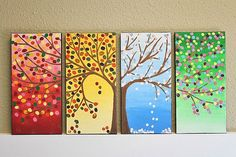Beautiful picture for describing seasons :) Chrissy - thought of you! Button Art, Button Crafts, Auction Projects, Art Projects, Art Auction, Diy And Crafts, Arts And Crafts, Art Club, Art Plastique