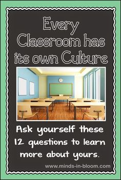Every classroom has a culture. Some pieces may be intentional on your part, others, not so much. Use these 12 questions to learn more about yours. This is a good way to know how the students feel in the classroom. Classroom Behavior, Classroom Environment, Classroom Setup, Classroom Design, Future Classroom, School Classroom, Classroom Organization, Organizing School, Classroom Discipline