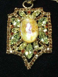 Juliana Yellow Faux Opal Glass Pendant, Necklace, Iridescent Blue/Purple Sheen by SweetBettysBling on Etsy