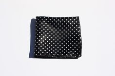 Black and White Satin Polka Dot Pocket Square with Black Trim #TheSquarExtraordinaire #Patterned