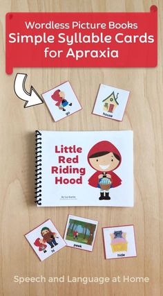Target simple syllables with the wordless picture book Little Red Riding Hood. Reading picture books is a great toddler and preschool activity. With these picture cards you can also help improve their speech. As a speech therapist I wanted to create a fun way to work on simple syllables (like CV, VC, CVC and more) during daily activities. Reading was something I knew parents also wanted to spend more time doing. Little ones love these little books. #earlyintervention #apraxia Preschool Speech Therapy, Speech Language Therapy, Speech Therapy Activities, Language Activities, Speech And Language, Preschool Activities, Daily Activities, Shape Activities, Wordless Picture Books