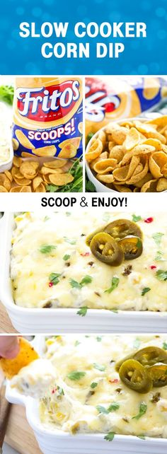 This super quick and easy slow cooker corn dip packs some major flavor with minimal ingredients – it's sure to be a hit at your next party! Appetizer Dips, Appetizers For Party, Appetizer Recipes, Party Snacks, Party Dips, Dinner Recipes, Slow Cooker Recipes, Crockpot Recipes, Cooking Recipes