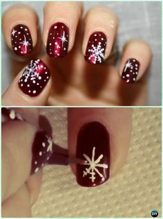 DIY Winter Snowflake Nail Art Instruction-DIY Christmas Nail Art Ideas  #NailArt