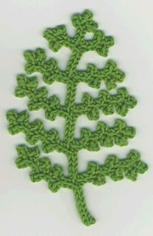 They say crocheted fern leaf; I think it looks more like a snip from a cedar branch. (from Crochet Bouquet)