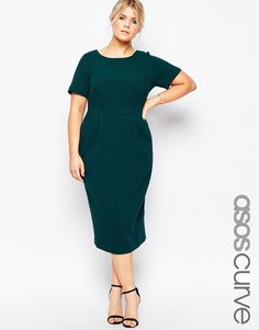 Image 1 of ASOS CURVE Midi Wiggle Dress in Texture