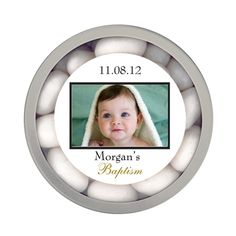Personalized Baptism Photo Round Tin Favor