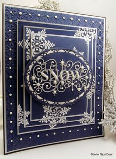 Creative Expressions Papercraft and Scrapbooking Products: Let it Snow, Let it Snow, Let it Snooooowwwwww. Snowflake Cards, Christmas Snowflakes, Noel Christmas, Handmade Christmas, Christmas Cards To Make, Xmas Cards, Holiday Cards, Scrapbooking, Scrapbook Cards