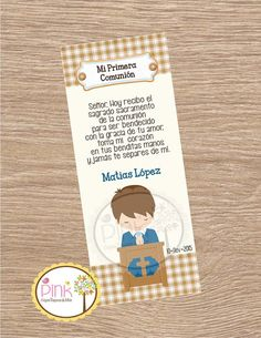 First Communion Favor Cards/ Bookmark / Baptism Boy / Recuerdo de Primera Comunion Niño