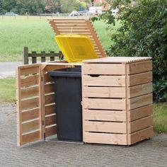 Wooden Garbage Can Holder Outdoor Trash Enclosure Storage Ideas