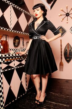Pinup Couture Deadly Dames by Micheline Pitt Black Swing Dress 102 10 14876 4