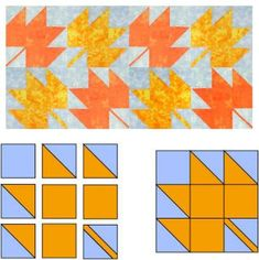 Maple Leaf Quilt Block Pattern - House Quilt Block, Star Quilt Blocks, Star Quilt Patterns, House Quilts, Pattern Blocks, Star Quilts, Leaf Patterns, Quilting Tutorials, Quilting Projects