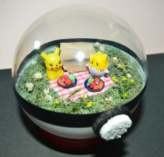 Pikachu and Togepi in Picnic Diorama Pokemon by ArtfulSunshine