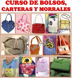 CURSO MANUAL BOLSOS CARTERAS MORRALES MOLDES Y PATRONES PASO A PASO Sewing Magazines, Book Crafts, Craft Books, Bindi, Tote Purse, Handmade Bags, Purses And Bags, Lunch Box, Quilts