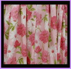 1960s Drapes Pink Peony flower curtains Mid Century decorating item for bedroom or sewing room. Mint condition, never used. Beautiful set of long,